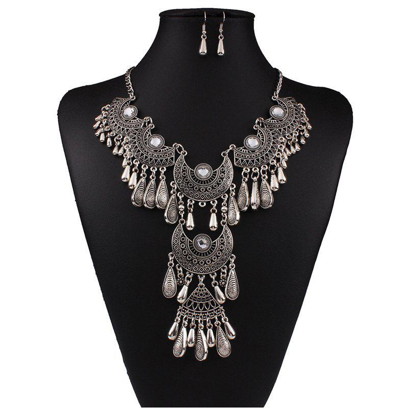 Shops Women's Vintage Jewelry Set Big Tassel Pendant Necklace Drop Earrings
