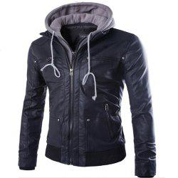 Leather Suits Hooded Fake Two Men's Motorcycle Coat -