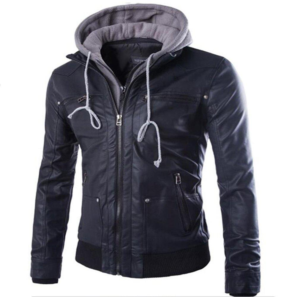 Chic Leather Suits Hooded Fake Two Men's Motorcycle Coat