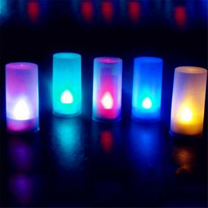 7-color LED Electronic Flameless Switch Candle Night Light With Cup Mood Lamp Home Decor Accessory -