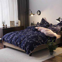 4Pcs Bedding Set Modern Flower Deep Blue Comfortable Bed Cover Set -