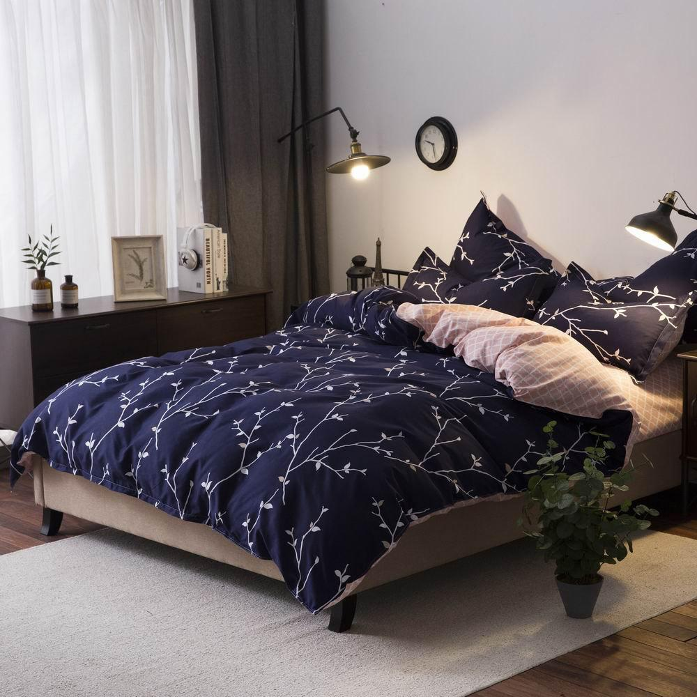 Buy 4Pcs Bedding Set Modern Flower Deep Blue Comfortable Bed Cover Set