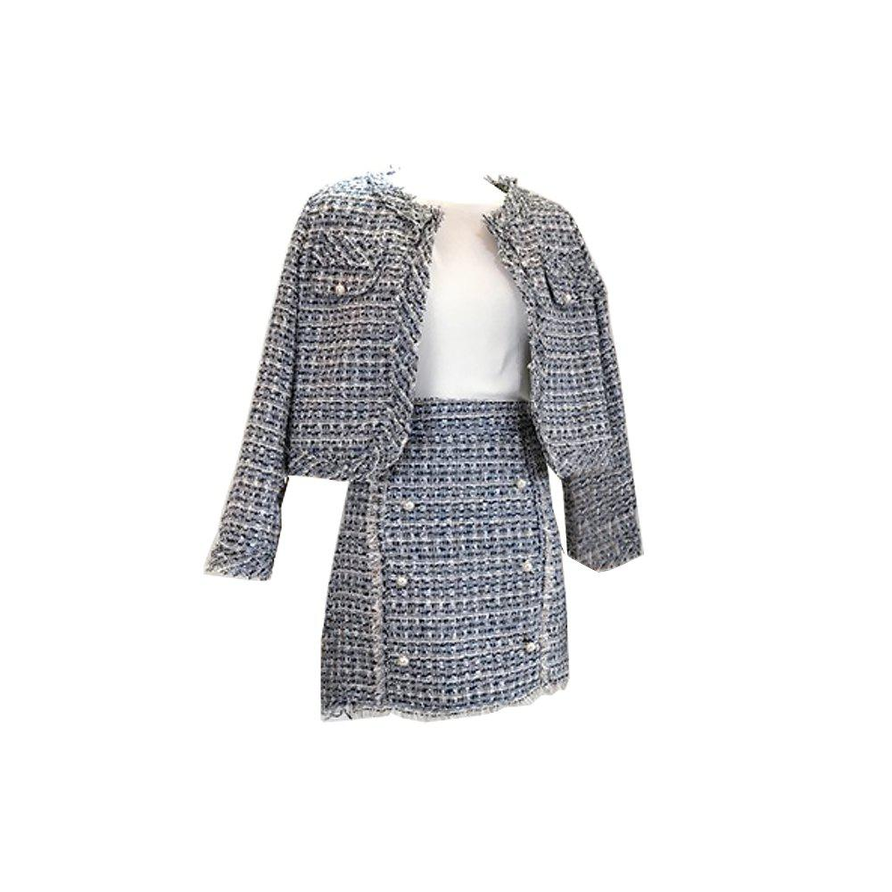 Outfit Tweed Sweet Small Coat and Skirt Suit