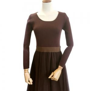 Net Yarn Knitting Dress -