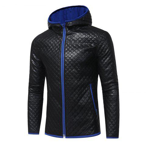 Store Men's Fashion Hit Color Hooded Casual  Tide Adolescent Large Leather Jacket