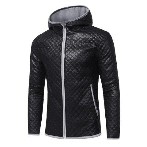 Hot Men's Fashion Hit Color Hooded Casual  Tide Adolescent Large Leather Jacket