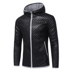 Men's Fashion Hit Color Hooded Casual  Tide Adolescent Large Leather Jacket -