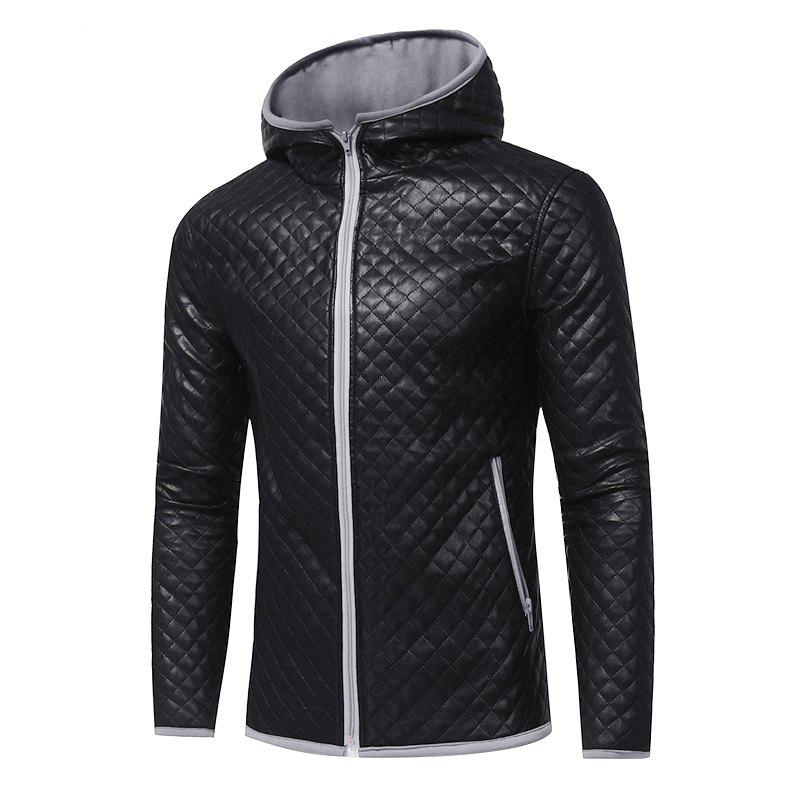 Chic Men's Fashion Hit Color Hooded Casual  Tide Adolescent Large Leather Jacket