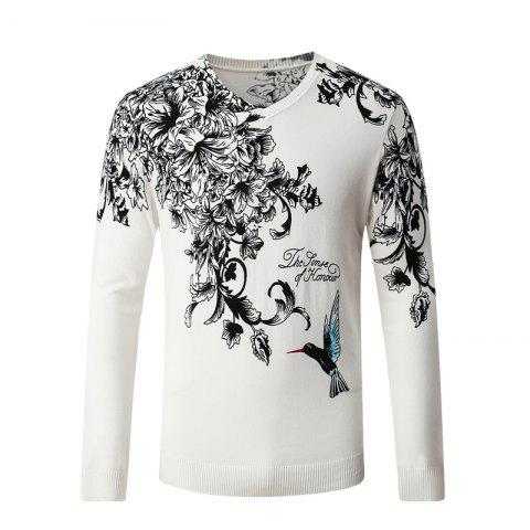Sale Hummingbird Print Pattern Men's V-Neck Sweater