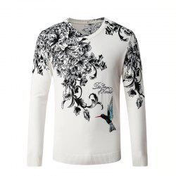 Hummingbird Print Pattern Men's V-Neck Sweater -