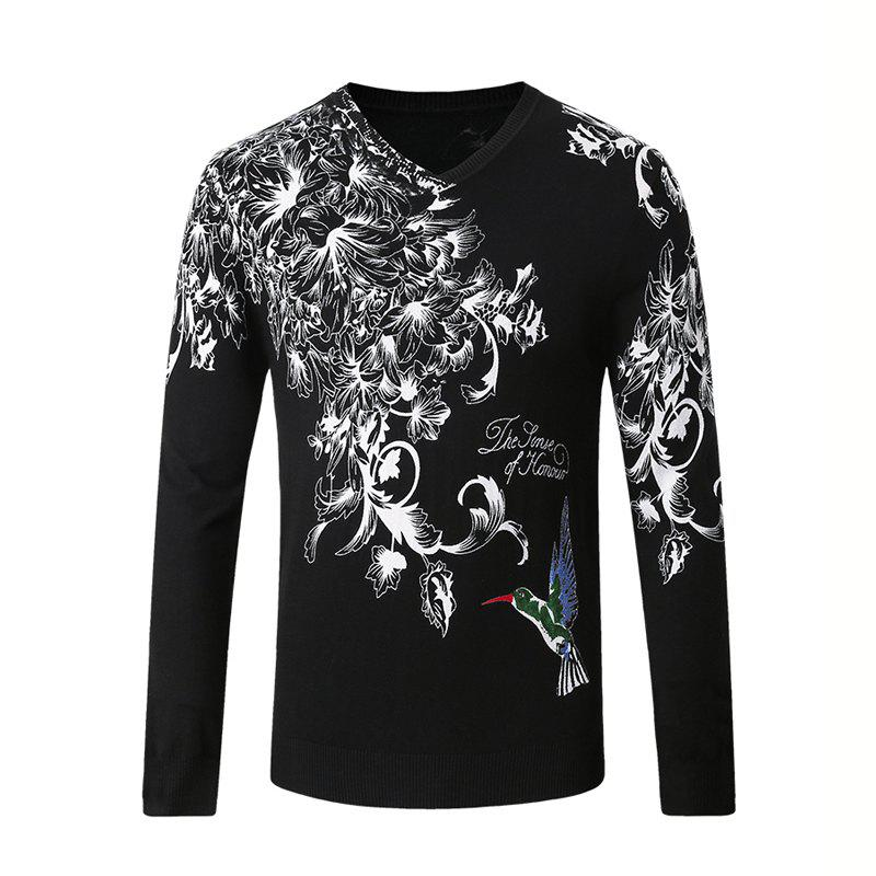 Discount Hummingbird Print Pattern Men's V-Neck Sweater