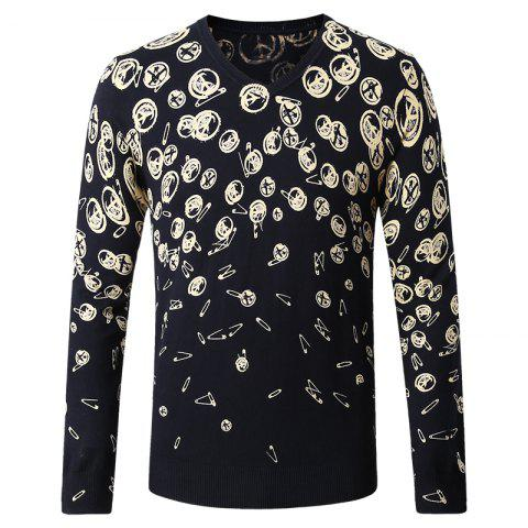 Hot Pattern Printed Men's V-Neck Sweater