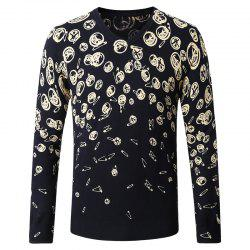 Pattern Printed Men's V-Neck Sweater -
