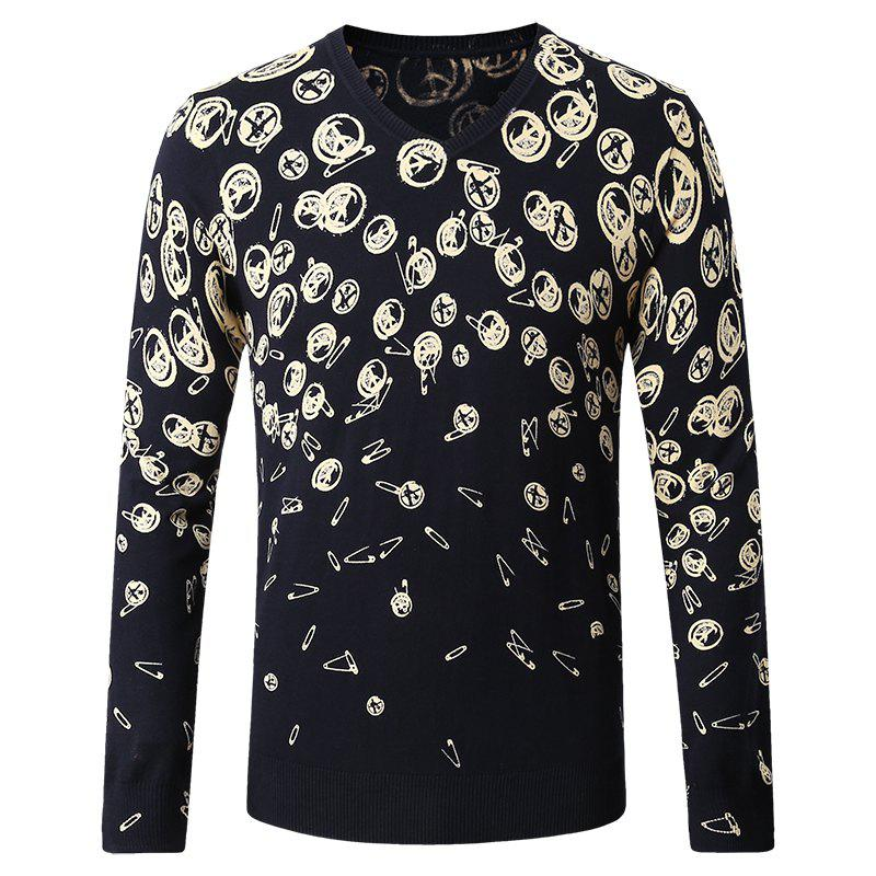 Shops Pattern Printed Men's V-Neck Sweater