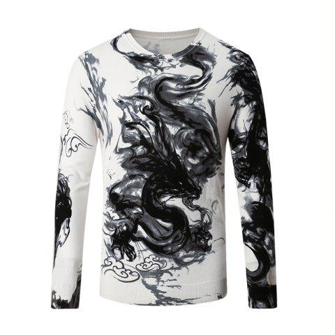 Cheap Men's Round Neck Pattern Printed Sweater