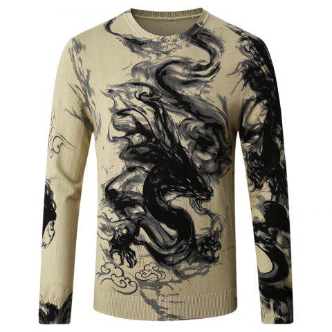 Chic Men's Round Neck Pattern Printed Sweater
