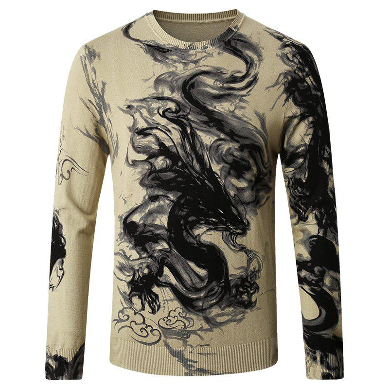 Sale Men's Round Neck Pattern Printed Sweater