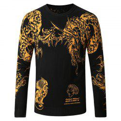 Men's Round Neck Chinese Dragon Print Sweater -