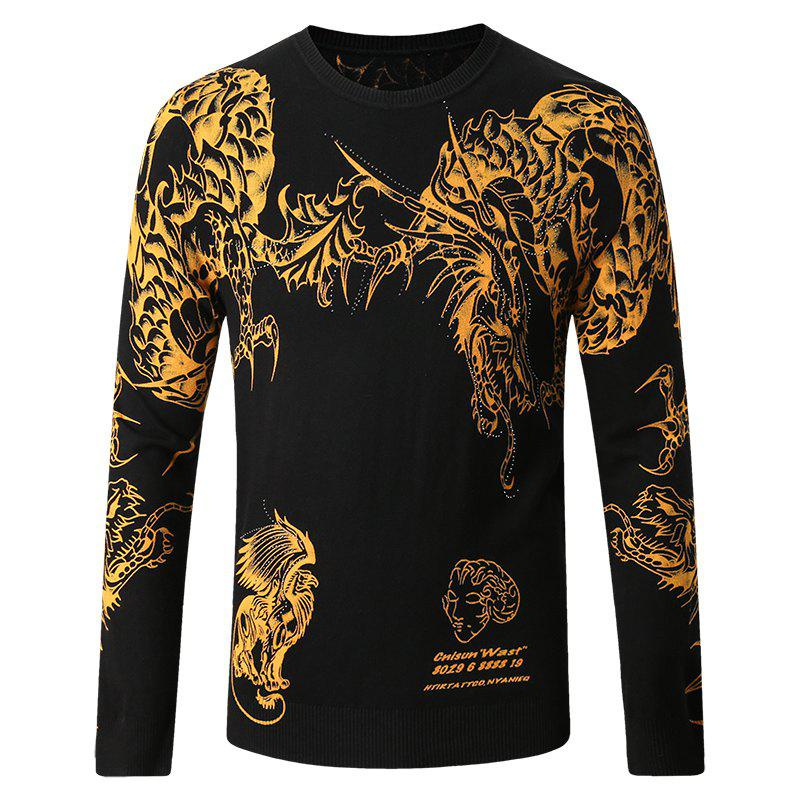 Outfit Men's Round Neck Chinese Dragon Print Sweater