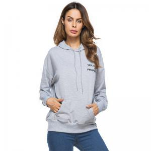 Solid Colour Loose Drawstring Hoodie -