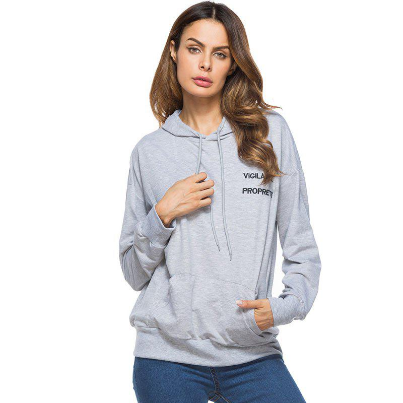 Cheap Solid Colour Loose Drawstring Hoodie