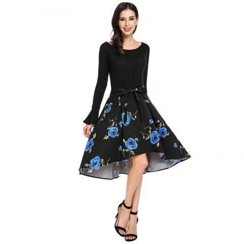Fashion Floral Irregular Bowknot Skirt