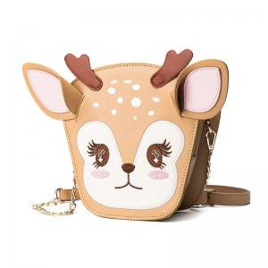 Ladies Cute Three Dimensional Fawn Messenger Bag Women's  Stitching Hit Color Chain Bags -