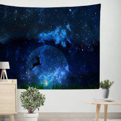 Deer Under the Starry Sky Tapestry Wall Hanging  Adorn Sofa Blanket Tablecloth Bedspread -