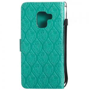 Cover Case for Samsung Galaxy A8 2018 Embossed Rattan Pattern PU Leather Wallet -