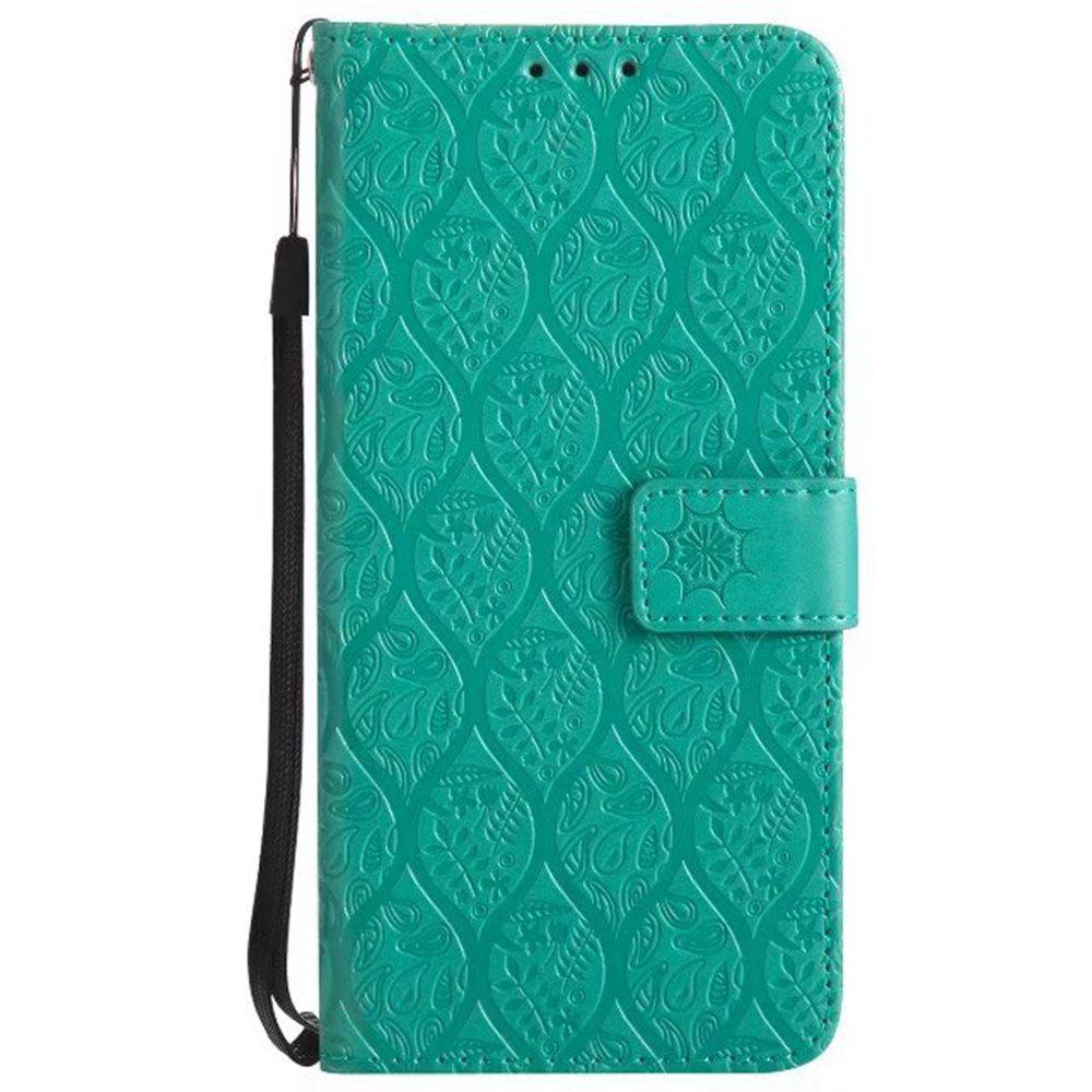 Fashion Cover Case for Samsung Galaxy A8 2018 Embossed Rattan Pattern PU Leather Wallet