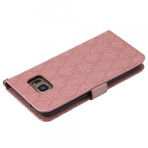 Cover Case for Samsung Galaxy S7 Edge Embossed Rattan Pattern PU Leather Wallet -