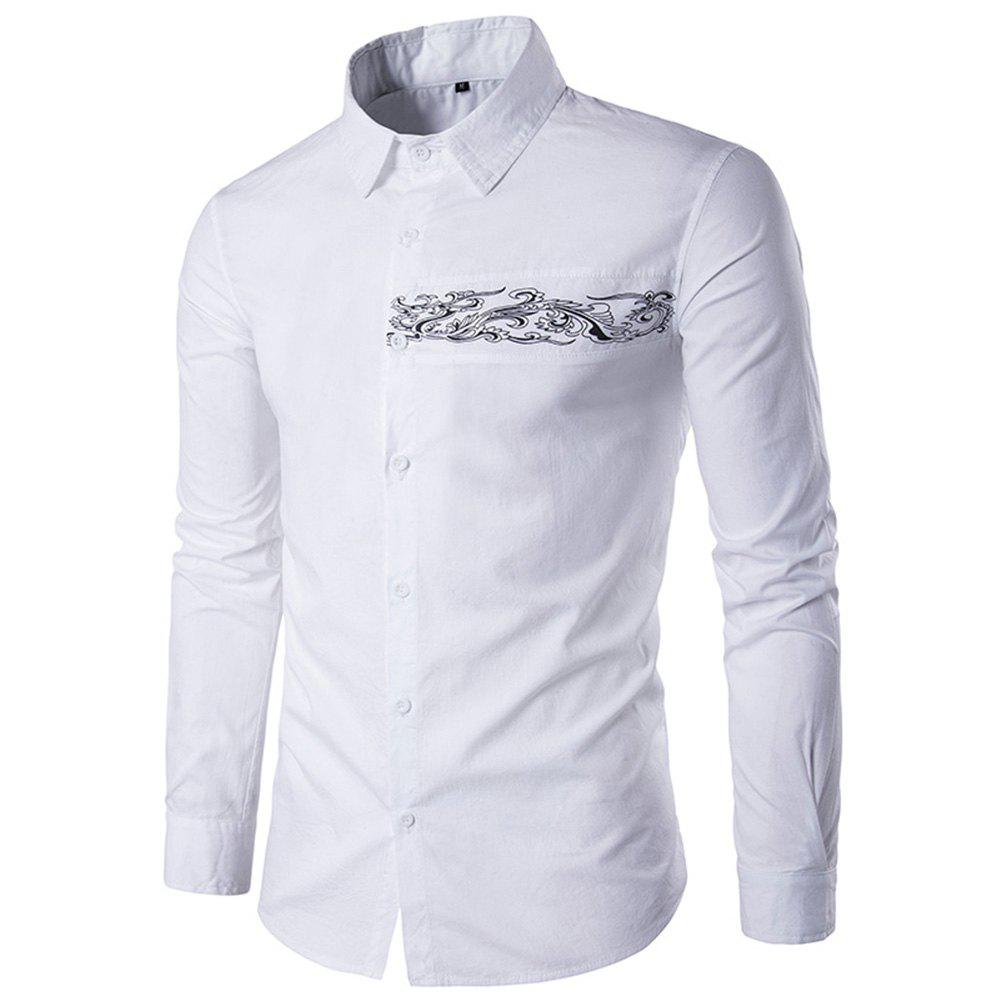 2018 Men High Quality Casual Shirt Men Long Sleeved Embroidery