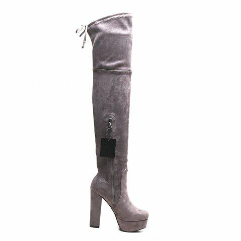 Hot Tie Back Side Zipper Platform Boots