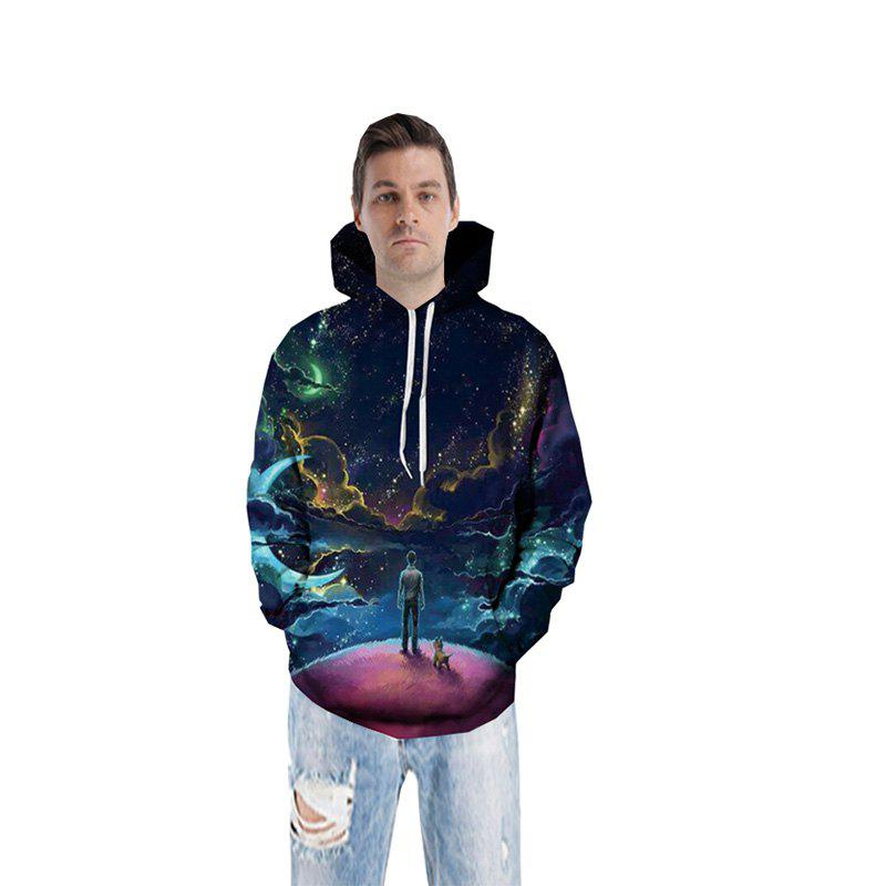 Online 3D Stars Moon Galaxy Space Hoodies for Men