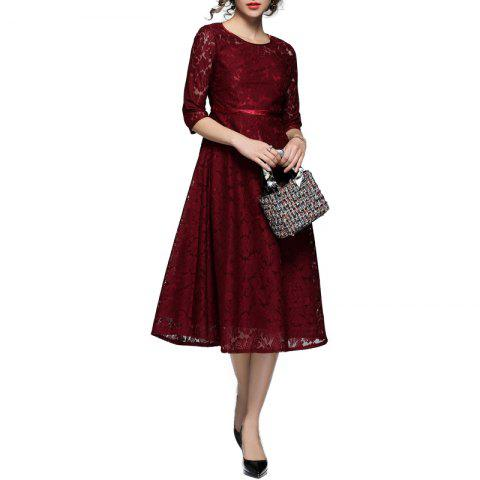 Buy Fashionable Round Collar Lace Dress