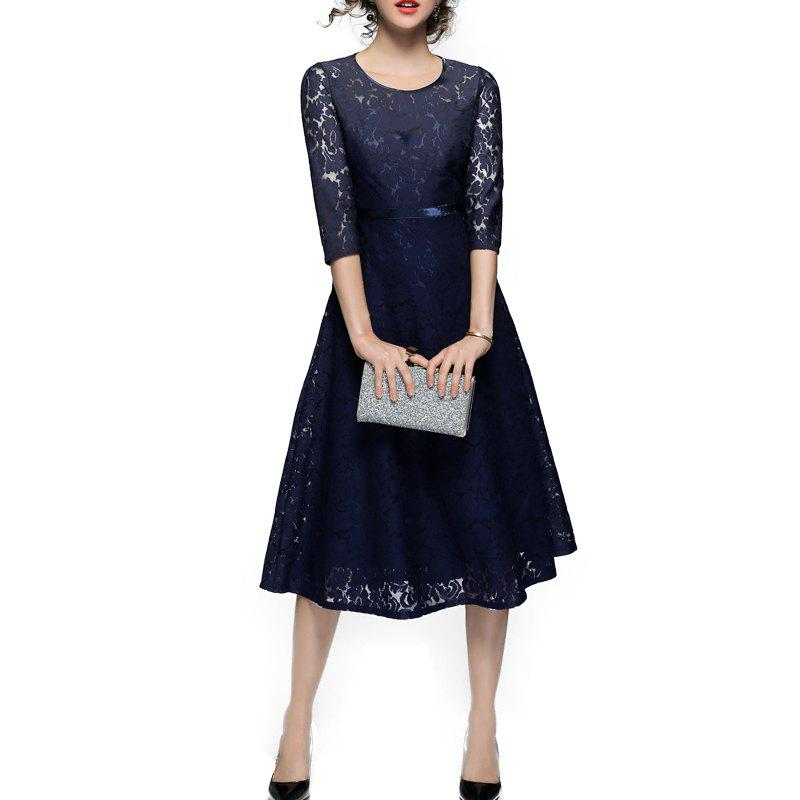 Shop Fashionable Round Collar Lace Dress