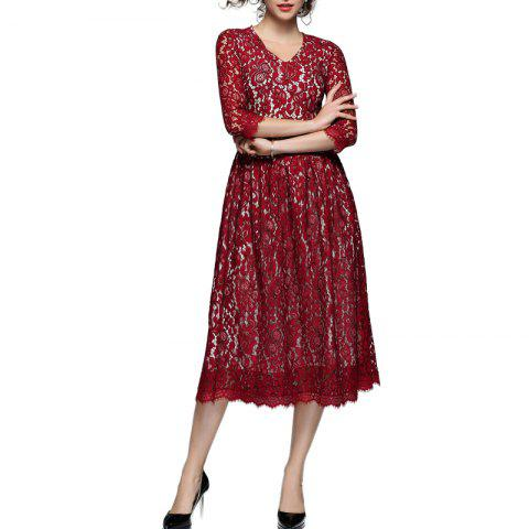Store Women's V-neck Lace Hollow Out Dress