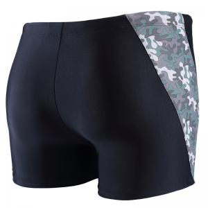 Daifansen A Quick Drying Black Camouflage Stitching Pool Straight Trunks -