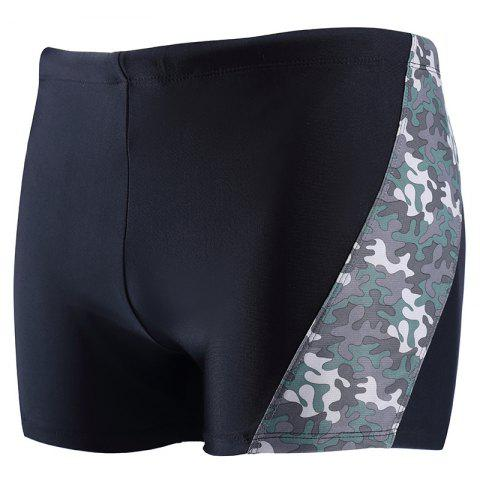 Outfit Daifansen A Quick Drying Black Camouflage Stitching Pool Straight Trunks