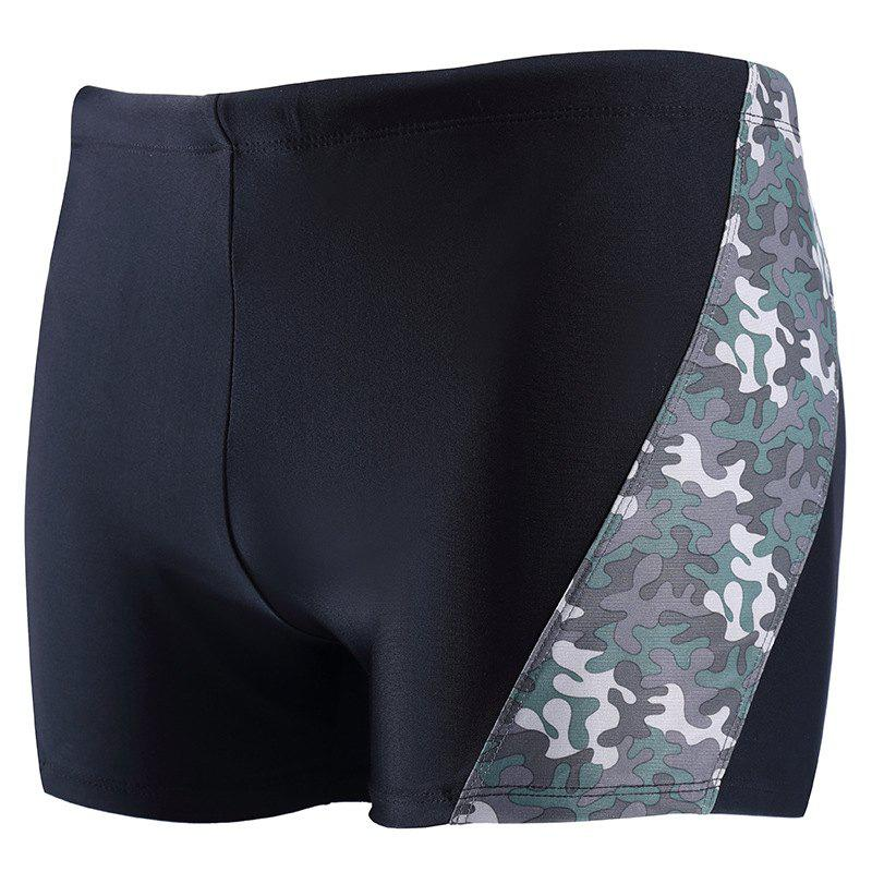 Shops Daifansen A Quick Drying Black Camouflage Stitching Pool Straight Trunks