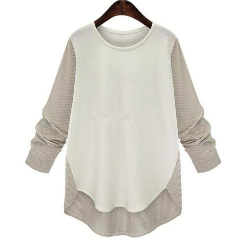 Online Plus Size Round Collar Long-Sleeved T-Shirt