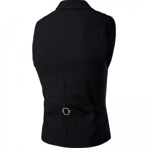 Men's Waistcoat Cotton Double-breasted Button Sleeveless Turndown Collar Gilet -