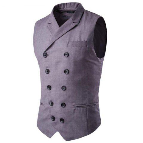 Hot Men's Waistcoat Cotton Double-breasted Button Sleeveless Turndown Collar Gilet
