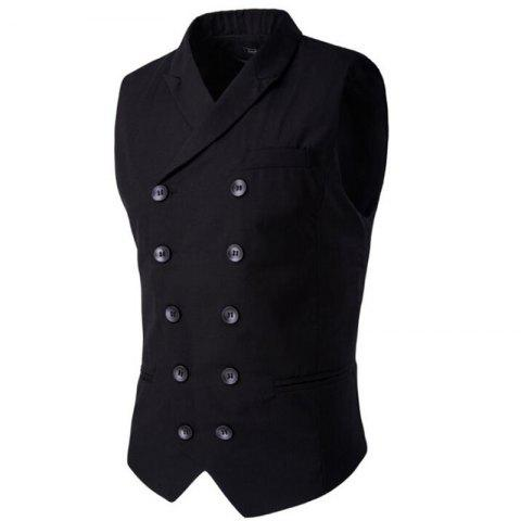 Chic Men's Waistcoat Cotton Double-breasted Button Sleeveless Turndown Collar Gilet