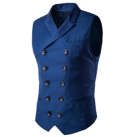 Discount Men's Waistcoat Cotton Double-breasted Button Sleeveless Turndown Collar Gilet