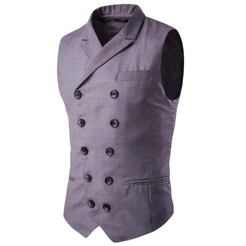 Sale Men's Waistcoat Cotton Double-breasted Button Sleeveless Turndown Collar Gilet