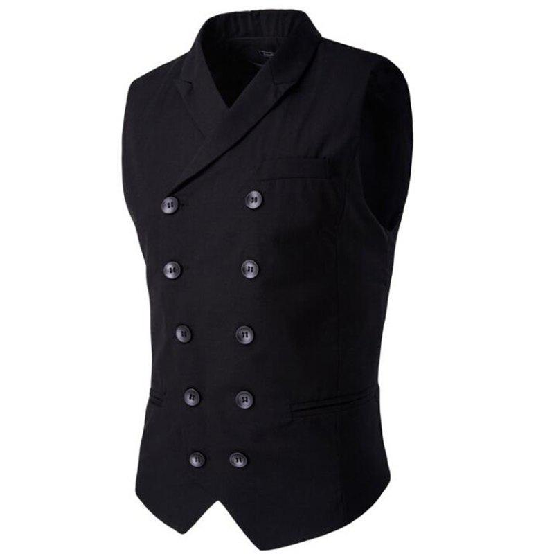 Online Men's Waistcoat Cotton Double-breasted Button Sleeveless Turndown Collar Gilet