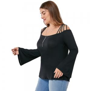 Women's Plus Size Boat Neck Flare Sleeve Solid Color T-Shirt -