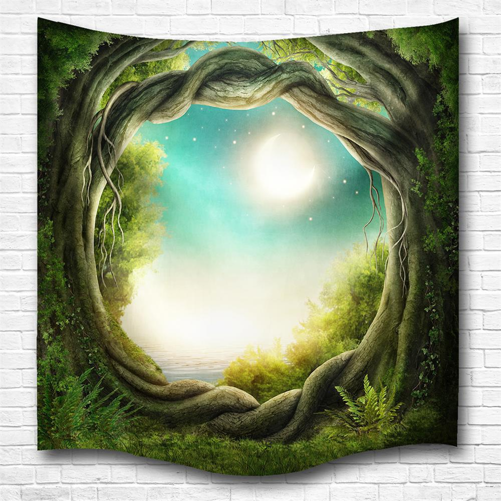 Outfit Fantasy Forest 3D Digital Printing Home Wall Hanging Nature Art Fabric Tapestry for Bedroom Living Room Decorations
