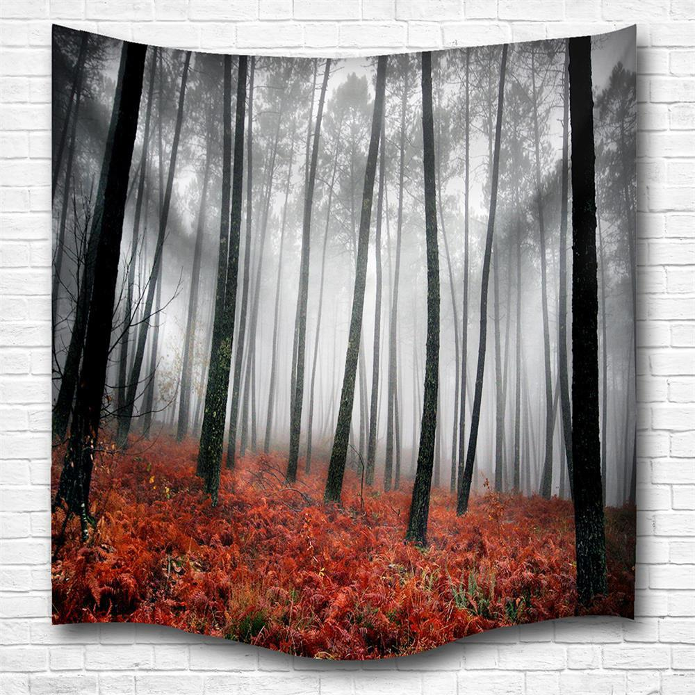 Discount Red Woods 3D Digital Printing Home Wall Hanging Nature Art Fabric Tapestry for Bedroom Living Room Decorations